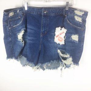 Hot Kiss Distressed Denim Raw Hem Frayed Shorts